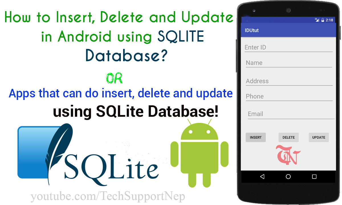 How to Insert Delete and Update in SQLite Database Using