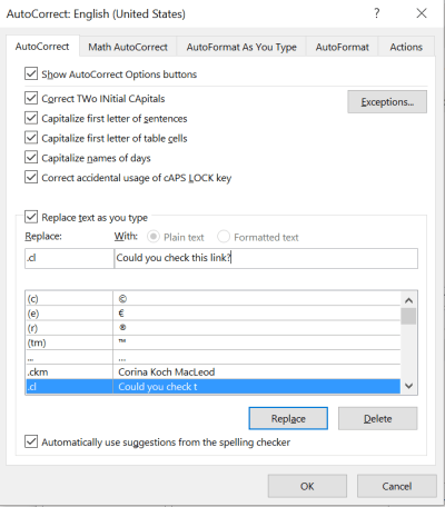Autocorrect dialog box in Word 2016