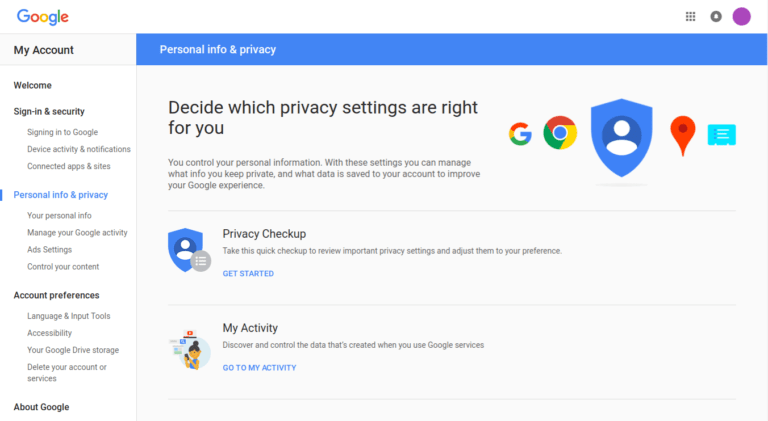 screenshot of the Privacy section of a Google account