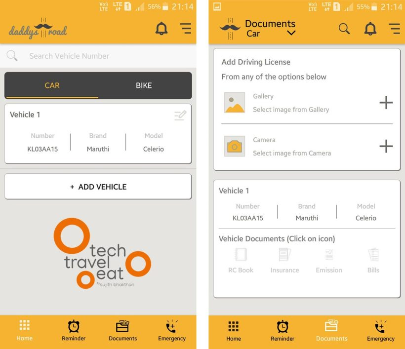 Screenshots of Daddys Road Mobile App