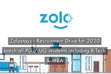 Zolostays – Recruitment Drive for 2020 batch all PG / UG students including B.Tech & MBA