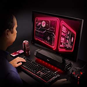 Attack Gaming Speaker Soundbar, Under Monitor PC Sound Bar LED Speaker with 40W Peak Audio Power