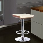 Armen Living Java Barstool in Cream Faux Leather and Chrome Finish, Walnut Wood Finish