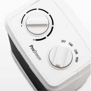 Pro Breeze 1500W Mini Ceramic Space Heater with 2 Speed Settings and Adjustable Thermostat