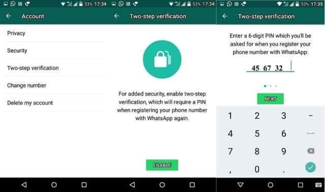 WhatsApp Two Step Verification