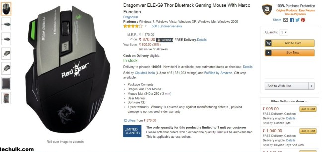 Dragonwar Red Gear Gaming Mouse