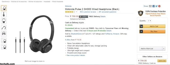 Moto Pulse 2 headphones