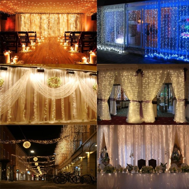 AGPtek® 3M x 3M 300 LED Linkable Design Fairy String Curtains Light Ideal for Indoor Outdoor Home Garden Christmas Party Wedding - Warm White