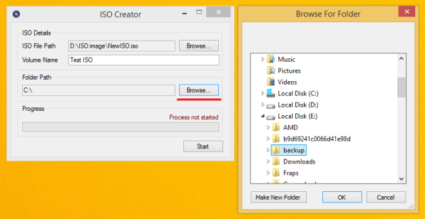 seelct folder to create iso image