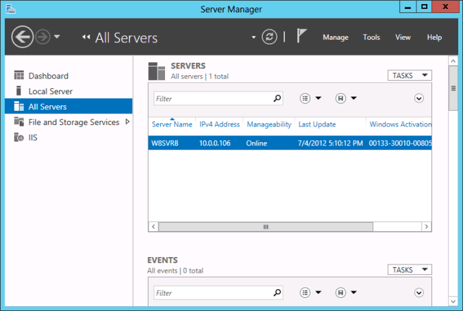 Using Server Manager