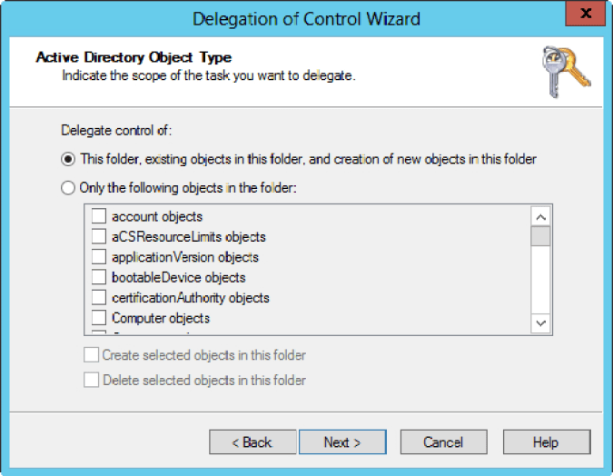Delegation of Control Wizard 2
