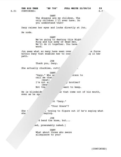 game of thrones season 7 leaked scripts