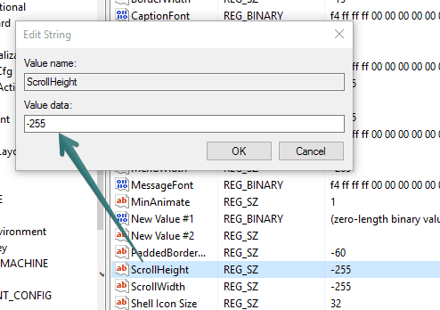 set value data of scrollbar height and width