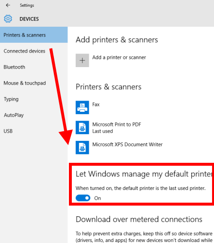 turn off automatic selection of last used printer as default printer