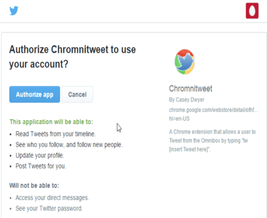 Post A Tweet To Your Twitter Timeline Directly Using Omnibox of Chrome