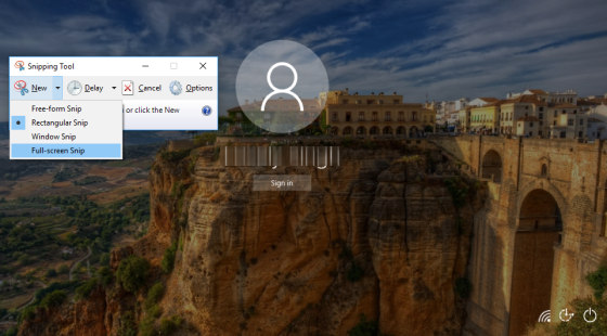 How To Capture Windows 10 Sign-in Screen Using Snipping Tool