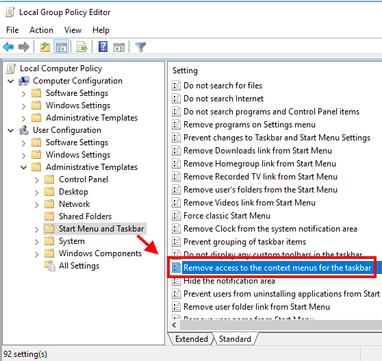 double tap on remove access to context menu for the taskbar option