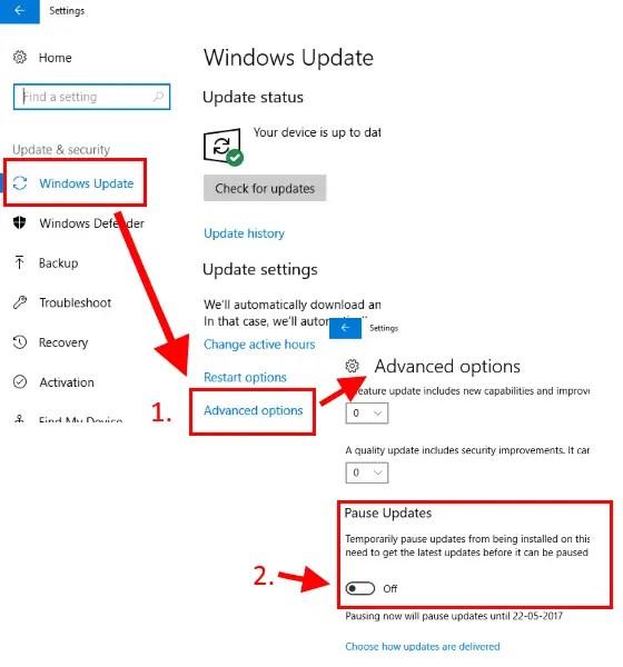 turn off windows updates for 35 days