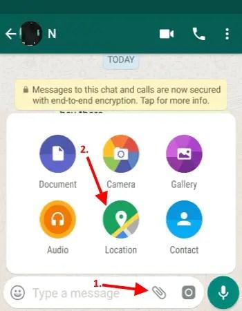 click attachment icon and select location option