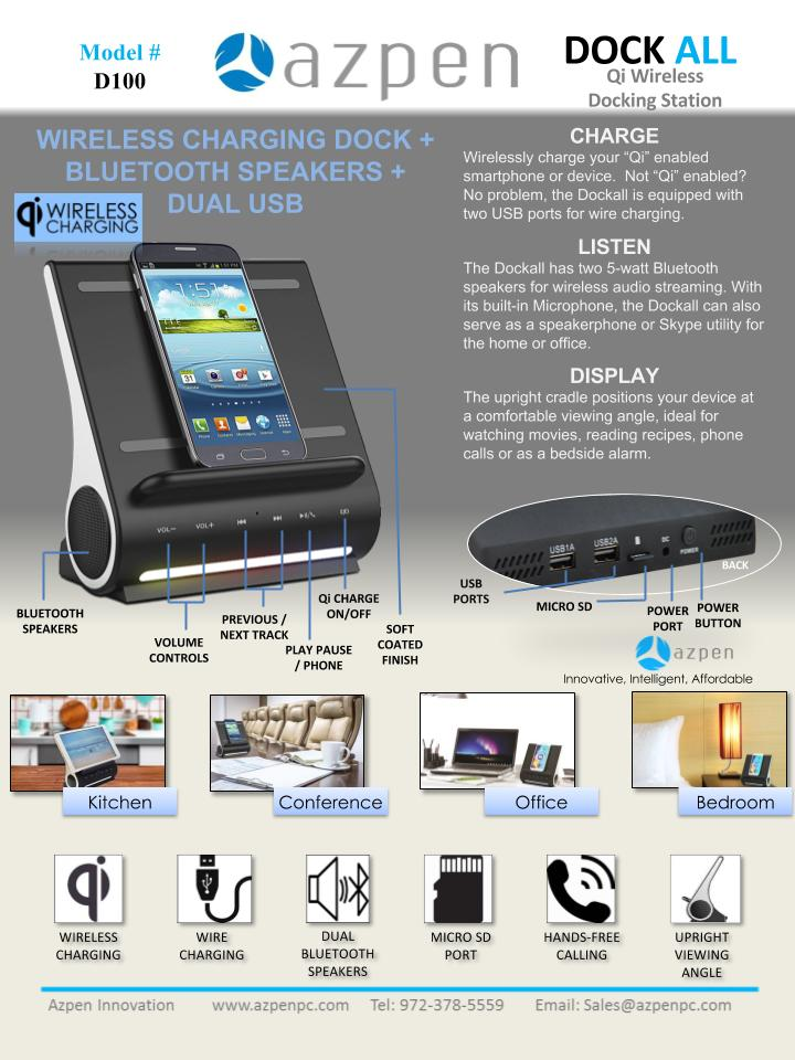 Azpen D100 Bluetooth Dock and A848 Projector Tablet