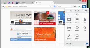 New Firefox User interface screenshot