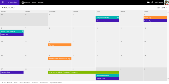 Open the Calendar View on your Microsoft Account via Outlook.com