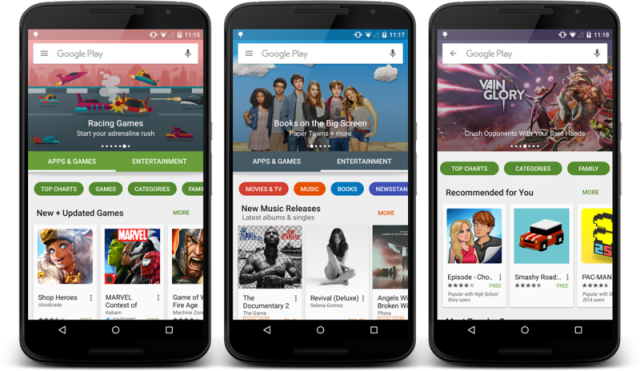 The new look Google Play