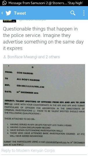 DCI job offer screenshot