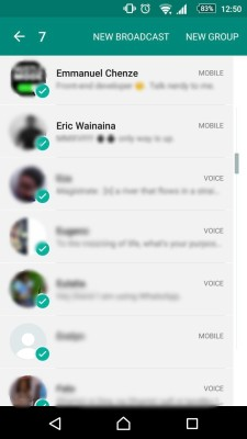 multiple contact selection on whatsapp