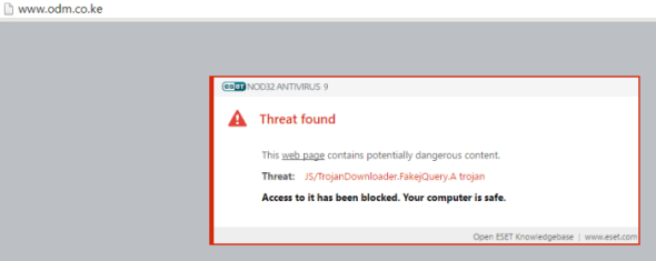 ESET prevented access to the website