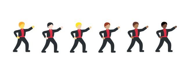 Man dancing in various skin tones  via Emojipedia