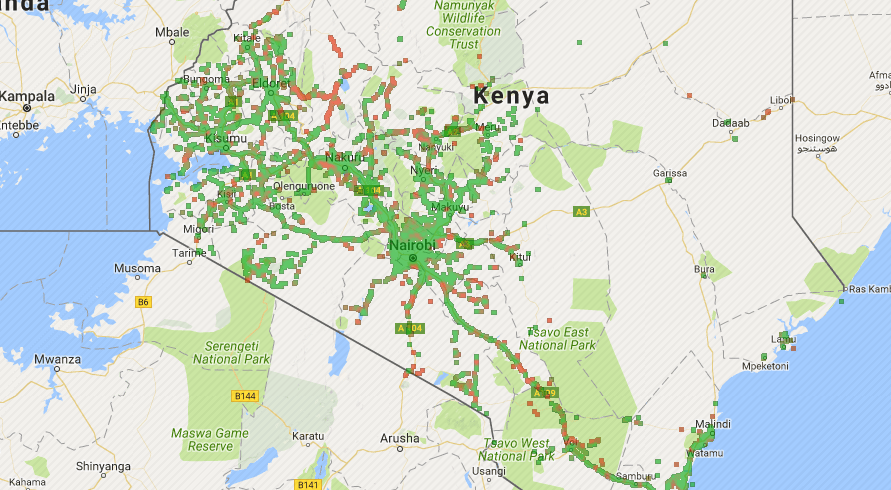 opensignal maps shows the signal strength users experience between different carriers in kenya