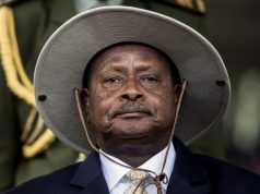 Uganda's President Museveni attends his swearing-in ceremony at the Independance grounds in Uganda's capital Kampala