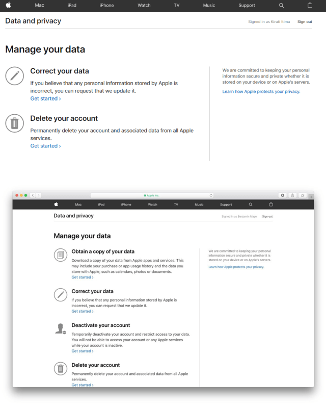 apple data and privacy website