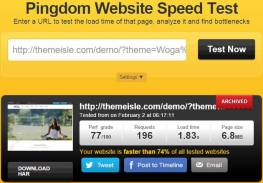 pingdom speed test of Woga