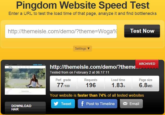 pingdom speed test of Woga