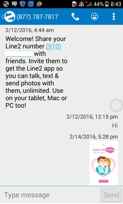 MMS screenshot of line2 android app