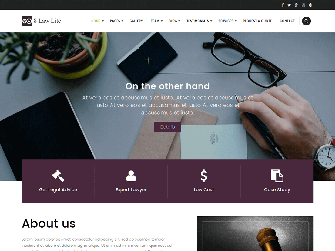 EightLaw Lite WordPress Theme for Law Websites