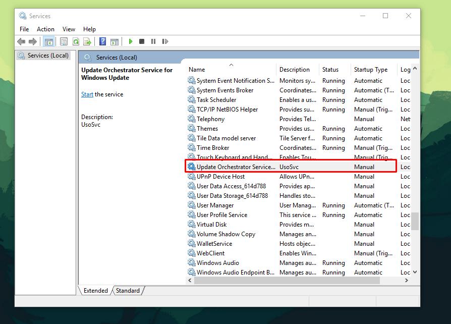 windows update orchestrator service disk usage