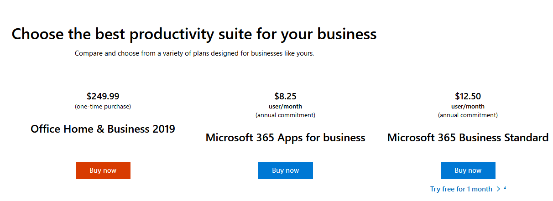 Microsoft Office 2019 Pricing