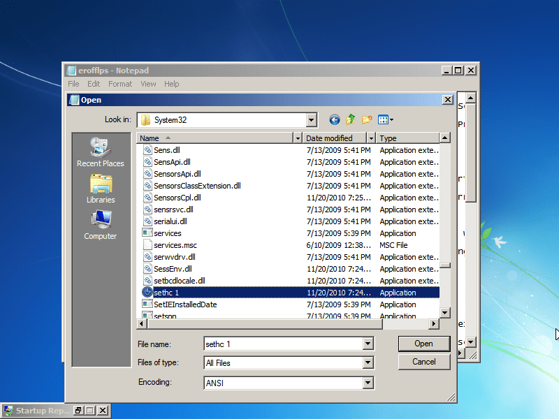"Go to Windows/System32. Now do EXACTLY as I say, or you MIGHT break the computer. Under ""Files of type,"" select ""All files."" Scroll down and find ""cmd,"" then make a copy of it in the same folder (Ctrl-C, Ctrl-V). You should get a file named ""cmd - Copy"" or something like that."