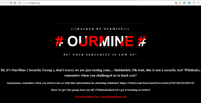 WikiLeaks Website Hacked By Hacking Group OurMine