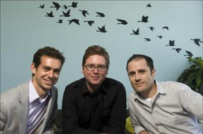 (from left to right) Jack Dorsey with Twitter co-founders Biz Stone and Evan Williams