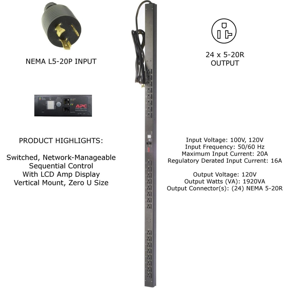 medium resolution of apc ap7930 120v 20a 24 outlet 5 20r zero u switched rack pdu surge protector
