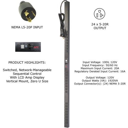 small resolution of apc ap7930 120v 20a 24 outlet 5 20r zero u switched rack pdu surge protector