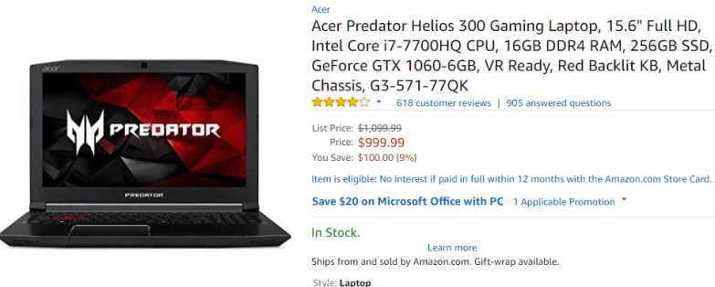 acer helios 300 gaming laptop