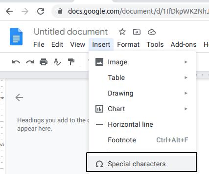 insert degree symbol in google docs