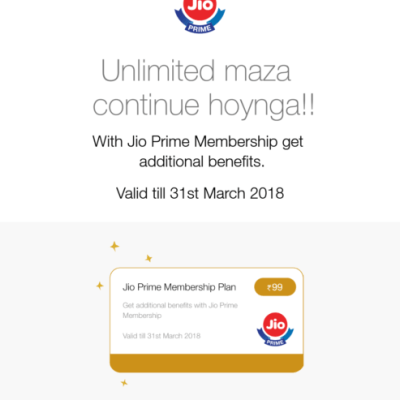 Click On get jio prime