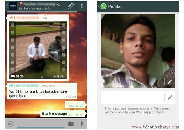 Send Blank Message on Whatsapp