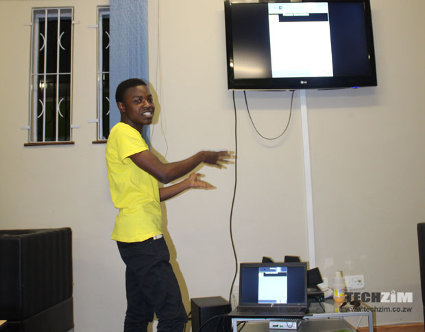 Innocent pitches his concept of improving education in Zimbabwe